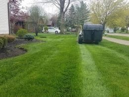 Miller Lawn Services mowing a lawn in Highland Heights, Oh